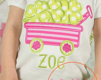 Custom Girls St. Patrick's Day Girly Shamrock Clover Wagon  T-Shirt - Personalized - Applique Shirt - Toddler - Youth - St. Patty's Top
