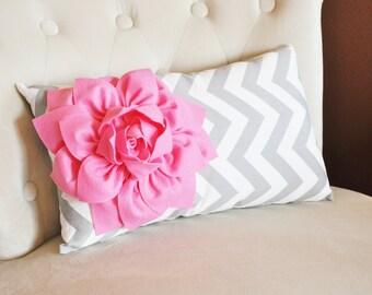 Decorative Lumbar Pillow Pink Dahlia on Gray and White Zig Zag Chevron Lumbar Pillow 9 x 16