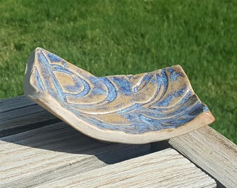 Blue and Tan Jewelry Dish, Hand Built Porcelain Pottery