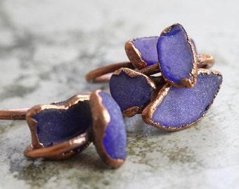 Seaglass Ring - Beach Glass Ring - Mermaid Jewelry - Sea Glass Ring - Cobalt Blue Ring
