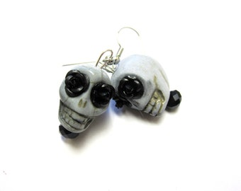 Gray Sugar Skull Earrings Day of The Dead Jewelry
