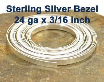"""24ga x 3/16"""" Sterling Silver Bezel Wire - Choose Your Length"""