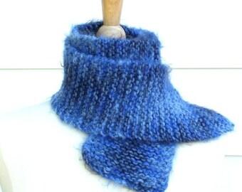 Blue hand knit scarf, soft wool scarf, warm winter scarf, soft winter scarf, blue knit winter scarf, soft fuzzy scarf, winter scarf for him