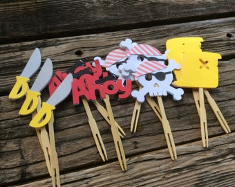 Pirate Party Cupcake Toppers - Pirate Party, Birthday Party, Pirate Ship, First Birthday, Party Decorations