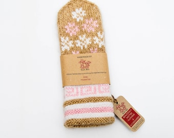 Warm, cozy & colorful hand knitted beige wool mittens gift for her
