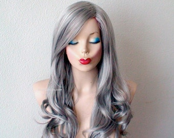 Gray wig. Lace front wig. Titanium / light gray Long curly hairstyle wig. Durable Heat friendly synthetic wig for daily use or Cosplay.