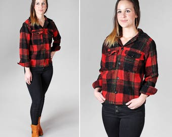 Vintage Canadian Wool Flannel - Woven Shirt Red Black Plaid Buffalo Check Retro Woodland Camp Outdoors Canada - Size Small or Medium