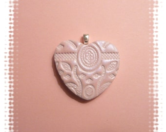 Pink Heart Pendant or Pin, Flowers Leaves, Wedding Flower Girl Bouquet Charm, Optional Ball Chain Necklace, handmade polymer clay