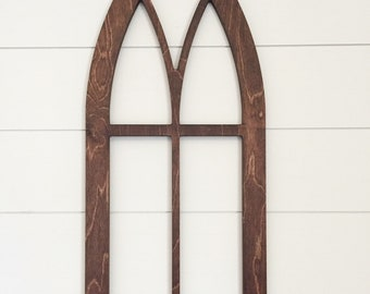 Cathedral Window Frame in wood; Farmhouse decor; wall decor