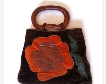 ON SALE Retro 70's Plush Flower Bag/ retro hippie style / women fashion / colorful bag with big orange/red flower