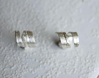 sterling silver stud earrings, sterling silver studs, spiral earrings, stud earrings, silver stud earrings, sculptural stud earrings, silver