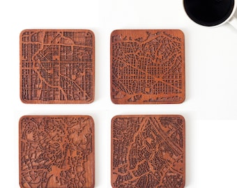 City map coaster, Free combination for Set of 4, 6, or 8,  Any Combination of Multiple city Optional, Sapele wooden coaster with city map