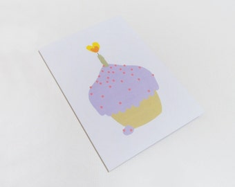 Birthday card, Cupcake greeting - Purple