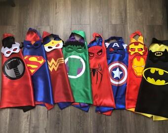 Superhero Cape and mask, Halloween costume, Superhero party favors, Superhero party, superhero birthday, superhero costume, superhero outfit