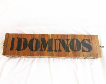 Vintage Wooden  I Dominos Or Dominoes Wooden Large Tiles Handmade Puzzle Game Indoor Outdoor Solid Wood Large Handmade Puzzle and Game Set