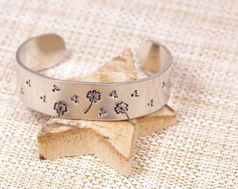 Dandelion and Fluff cuff bracelet, Hand Stamped, Aluminium, Make a wish, Wishes bracelet