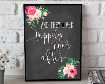 And They Lived Happily Ever After, Chalkboard Wedding Print, Love Printable, Wedding Printable, Wall Art, Home Decor, Digital Download