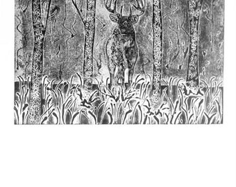 Deer Collagraph Print