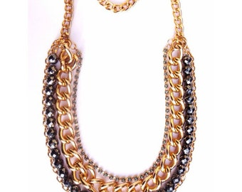 Gold Statement Necklace chunky necklace statement jewelry chains beaded necklace DIVA