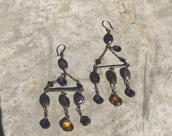 Sterling silver Iolite Citrine and black freshwater pearl chandelier earrings, gift for her, woman's gift, gift for mom, statement earrings