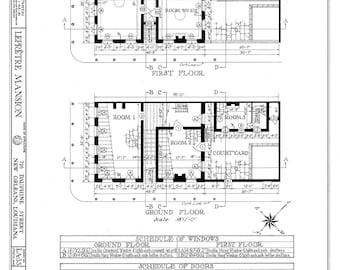 Architectural plans etsy new orleans french quarter mansion architectural drawing blueprint floorplan giclee print 18x 24 malvernweather Image collections