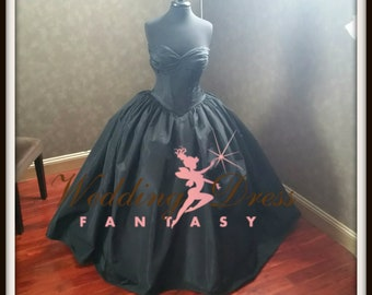 Black Corset Wedding Dress Gothic Bridal Gown from Award Winning Wedding Dress Fantasy