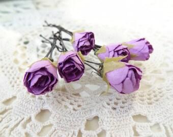 Purple Rose Wedding Hair Pins,  Bridal Hair Pins, Hair Accessories, Fabric Hair Pins, Bridesmaid Hair, Woodland - Set of 6