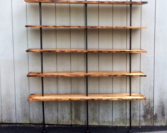 The Hemingway Wall Mount Bookcase Reclaimed Wood Bookshelf Pipe Wall Bookshelf Shelf Built In Industrial Shelving Store Display