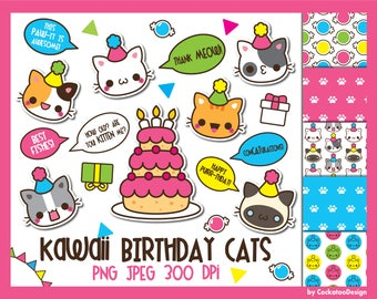 50% OFF, Cat clipart, birthday cat clipart, kawaii cat clip art, birthday clipart, cute cat clipart, kawaii cat clipart, Commercial Use