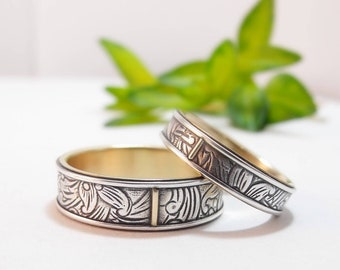 Wedding Band Set Sterling Silver Rings 10K Gold Wedding Ring Set Womens Wedding Band Mens Wedding Band Womens Wedding Ring Gold Wedding Band