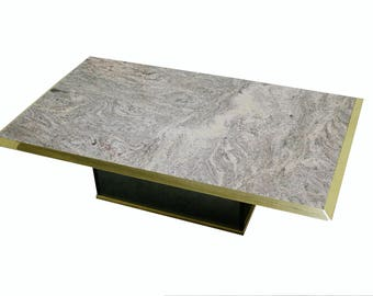 Hollywood regency brass and marble coffee table 1970s - willy rizzo coffee table -  maison jansen coffee table - mid century modern table