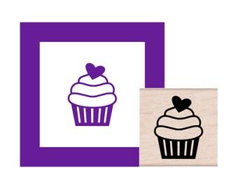 Swirl Cupcake Rubber Stamp