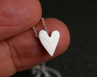 Sterling silver truly tiny heart pendant necklace