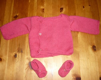 Set cardigan and booties for baby girl 3 months