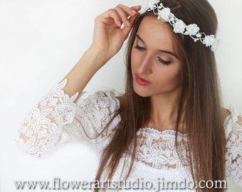White Bridal Headpiece White Bridal Flower Crown Feminine Floral Crown Flower Girl Hair Wreath Flowergirl flower crown
