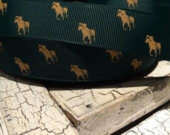 "3 yards 7/8"" Riding Horse Western gold on green grosgrain ribbon"