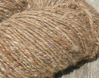 Natural brown handspun Ouessant wool undyed