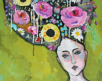 A head full of thoughts - original floral painting by Kasia Avery