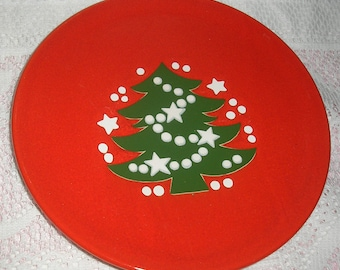 "Waechtersbach W Germany 7.5"" Red Christmas Tree Plate"