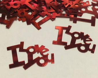12 Large I Love You confetti , 25 x 20 mm (26)C