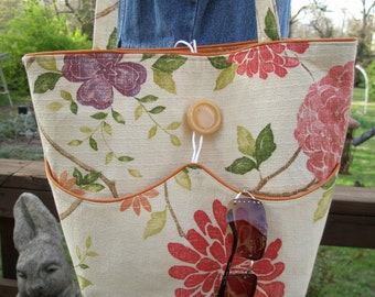 Vintage Barkcloth 1960's Spring Floral Dahlia Tote Market Bag Large Tote