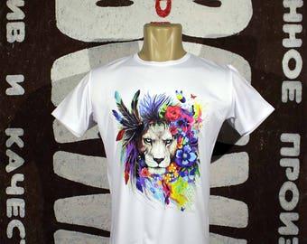 "T-shirt ""Lion-hippie"", colorful print, lion, flowers, feathers, cheap, programmer, buy, gift, cheap, modern wallart"