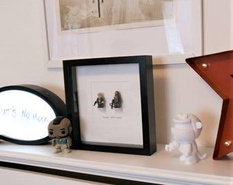 Chewie We're Home//Star Wars//Shadow Box Frame// Minifigure//Han Solo//Chewbacca//Geek Decor//Wall Art//Gift//New Home