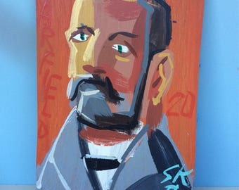 Original Painting of President Garfield by Steven Keene -- Abstract and Outsider Art