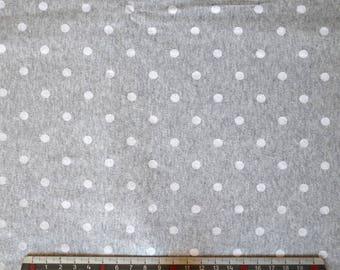 """White polka dots"" grey cotton JERSEY fabrics"