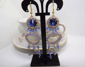 Long pendant earrings, beaded earrings, handmade earrings, geometrical earrings, symmetrical earrings, peyote earrings