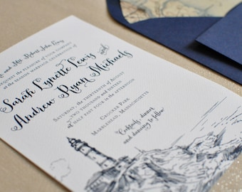 Nautical Wedding Invitation, Coastal Wedding, Preppy Wedding Invitation, Lighthouse Wedding Invitation, East Coast Wedding Invitation