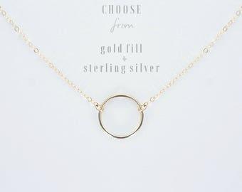 Gold Circle necklace • Karma Necklace • Silver Circle Necklace • Open circle necklace • Halo Necklace • Gold Pendant Necklace • Geometric