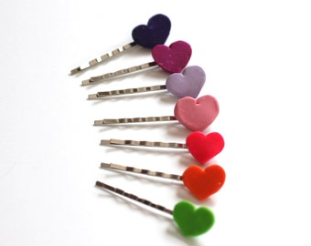 Bobby Pins, Colorful Bobbies, Hair Clippies, Fun Colorful Hair Pins, Heart Hair Pins Hair Clips Hair Accessories Side Bang Clips Pink Purple