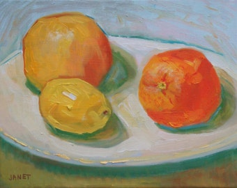 Citrus Still Life Oil Painting//Lemon Orange and Grapefruit//8 x 10 Canvas with Painted Sides and Wire Hanger